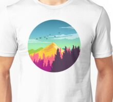 Colorful Nature Landscape : Mountain and Forest Scene with Happy Birds Unisex T-Shirt