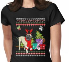 Bullmastiff Ugly Christmas Sweater Womens Fitted T-Shirt