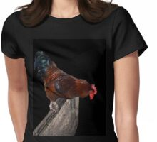 Colorful Rooster Looking Down On A Fence Womens Fitted T-Shirt
