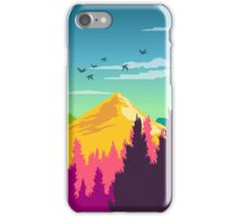 Colorful Nature Landscape : Mountain and Forest Scene with Happy Birds iPhone Case/Skin