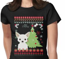 Chihuahua Christmas Ugly Sweater Womens Fitted T-Shirt