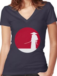 White samurai silhouette and red sun Women's Fitted V-Neck T-Shirt