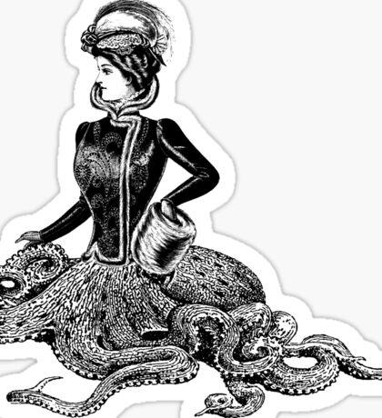 Victorian Octopus Woman Sticker