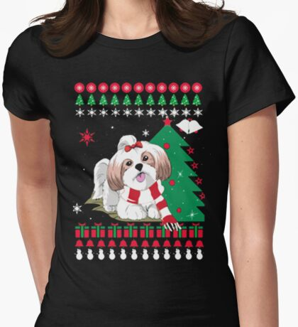 Christmas Ugly Sweater - SHIH TZU DOG Womens Fitted T-Shirt