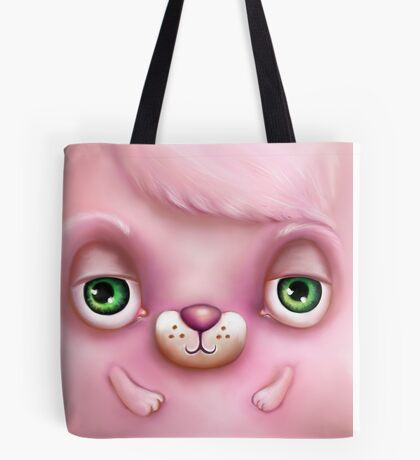 Cute Fluffy Monster in Pink Tote Bag
