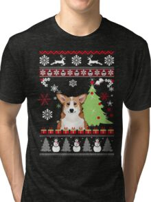 Corgi Christmas Ugly Sweater Tri-blend T-Shirt