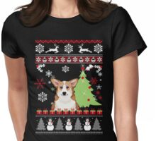 Corgi Christmas Ugly Sweater Womens Fitted T-Shirt