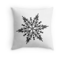 Christmas 2016 - Snowflake Design - Black and White Throw Pillow