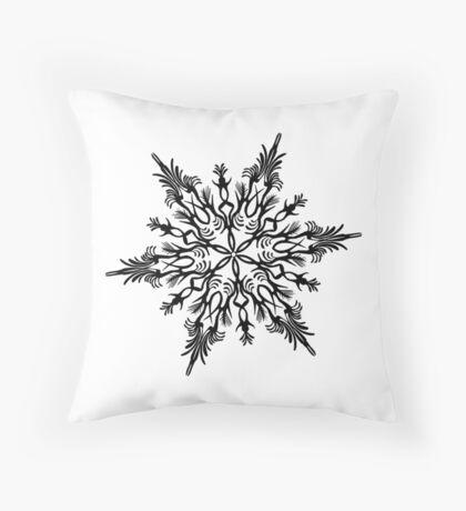 Christmas 2016 - Snowflake Design - Black and White Throw Pillow