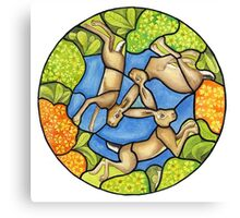 three hares (stained glass) Canvas Print