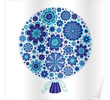 Elaborate Blue Flowers Background Poster