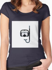Stylized icon of a colored mask and tube for a scuba diving on a white background Women's Fitted Scoop T-Shirt