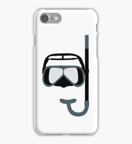 Stylized icon of a colored mask and tube for a scuba diving on a white background iPhone Case/Skin