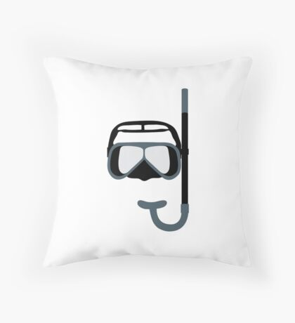 Stylized icon of a colored mask and tube for a scuba diving on a white background Throw Pillow