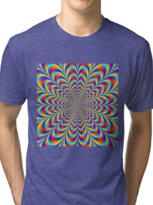Blue Red and Yellow Rosette Tri-blend T-Shirt