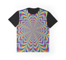 Blue Red and Yellow Rosette Graphic T-Shirt