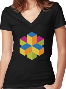 Isometric abstract color cubes Women's Fitted V-Neck T-Shirt