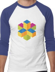 Isometric abstract color cubes Men's Baseball ¾ T-Shirt