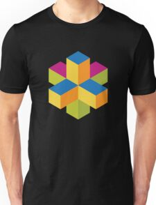 Isometric abstract color cubes Unisex T-Shirt