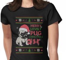 Pug Ugly Christmas Sweatshirt Womens Fitted T-Shirt