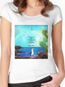 The Art Of Love Inspirational Quote With Nature Painting  Women's Fitted Scoop T-Shirt