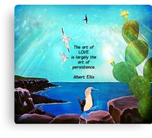The Art Of Love Inspirational Quote With Nature Painting  Canvas Print