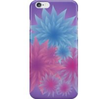 Bunch of Tender Flowers in Shades of Blue and Pink on Dark Background iPhone Case/Skin