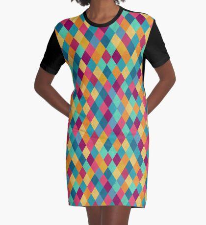 Colored Diamonds Graphic T-Shirt Dress
