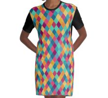 Colored Diamonds Graphic T-Shirt Dress