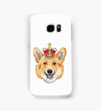 Pembroke Welsh corgi in gold crown Samsung Galaxy Case/Skin
