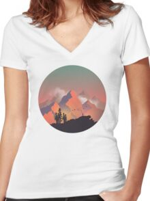 Cool Outdoors Nature Landscape Graphic : Forest and Hiking Mountain with Birds Women's Fitted V-Neck T-Shirt