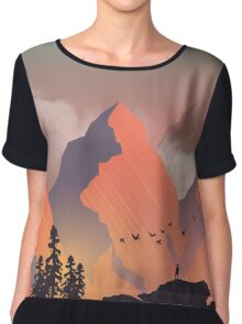 Cool Outdoors Nature Landscape Graphic : Forest and Hiking Mountain with Birds Chiffon Top
