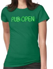 Pub Open Neon Sign Womens Fitted T-Shirt