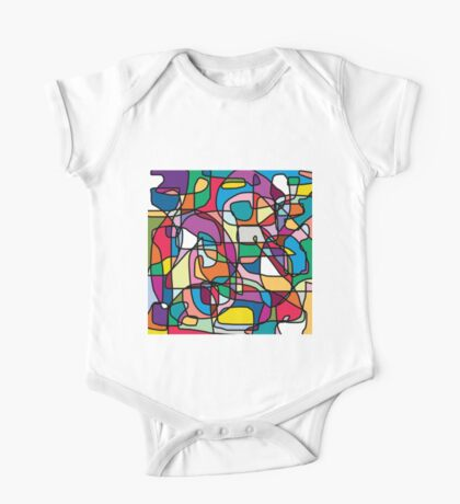 Abstract Colours Doodle One Piece - Short Sleeve