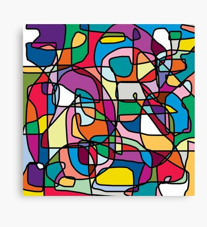Abstract Colours Doodle Canvas Print