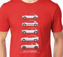 Hot Hatchbacks Automotive Art - XR3i, 205GTI, R5 GTI Turbo, Astra GTE, Golf GTI Unisex T-Shirt