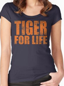 Tiger for Life -Navy and Orange Women's Fitted Scoop T-Shirt