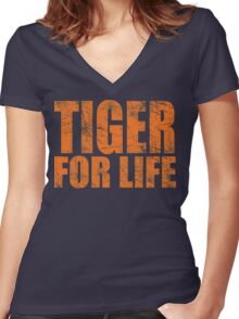Tiger for Life -Navy and Orange Women's Fitted V-Neck T-Shirt