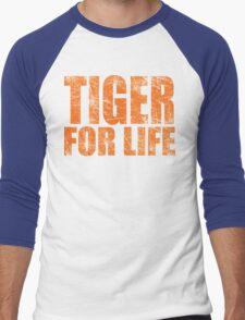 Tiger for Life -Navy and Orange Men's Baseball ¾ T-Shirt