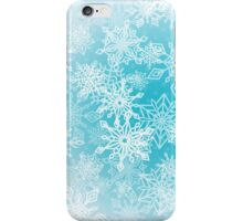 Chaotic Christmas Snowflakes on Blue Background iPhone Case/Skin