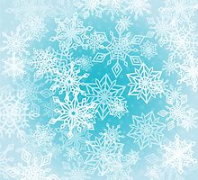 Chaotic Christmas Snowflakes on Blue Background by amovitania