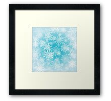 Chaotic Christmas Snowflakes on Blue Background Framed Print