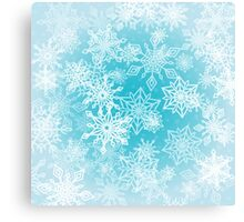 Chaotic Christmas Snowflakes on Blue Background Canvas Print