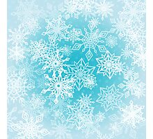 Chaotic Christmas Snowflakes on Blue Background Photographic Print