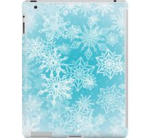 Chaotic Christmas Snowflakes on Blue Background iPad Case/Skin