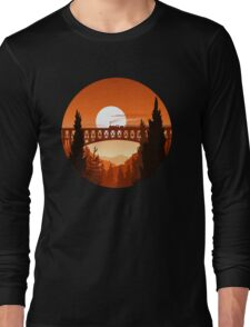 Retro Nature Graphic Illustration : Train Mountain with Oldschool Landscape Long Sleeve T-Shirt