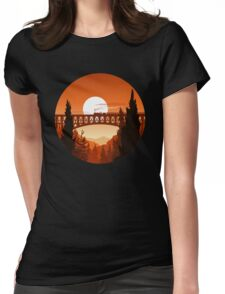 Retro Nature Graphic Illustration : Train Mountain with Oldschool Landscape Womens Fitted T-Shirt