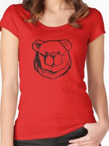 Robust Bear Logo Black Women's Fitted Scoop T-Shirt