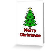 8 Bit Merry Christmas with Christmas Tree  Greeting Card