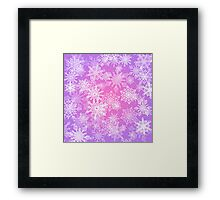 Chaotic Snowflakes on Lilac Background Framed Print